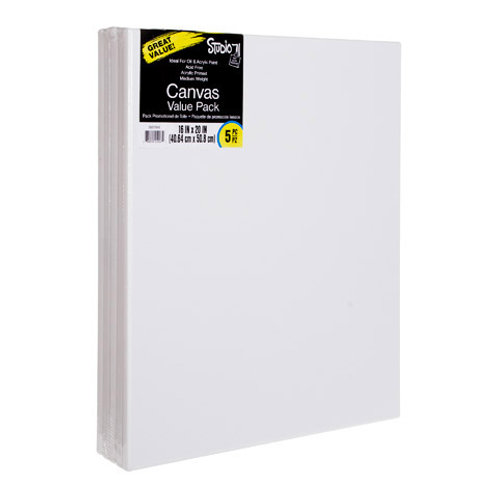 """Stretched Canvas Value Pack 16""""x20"""" White (5 Pack)"""