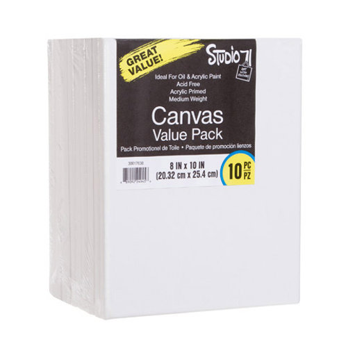 "Stretched Canvas Value Pack 8""x10"" White (10 Pack)"