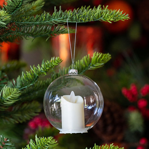Clear Glass Ball With Flickering Candle Ornament