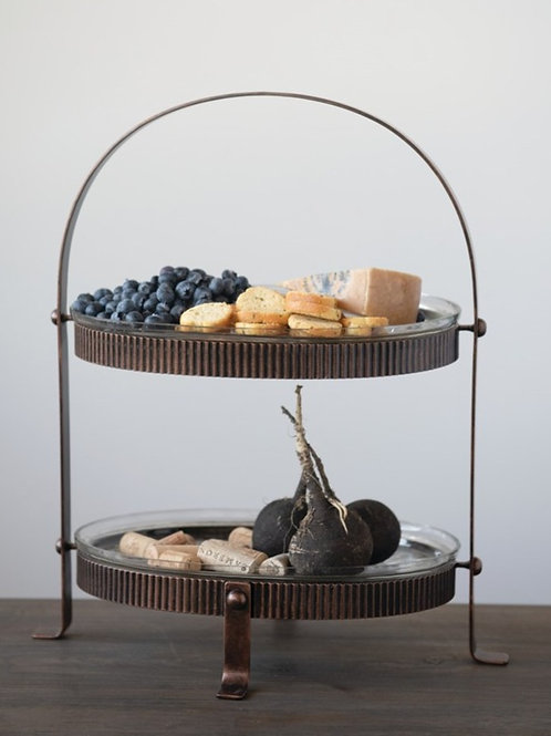 Metal And Glass Two Tier Tray