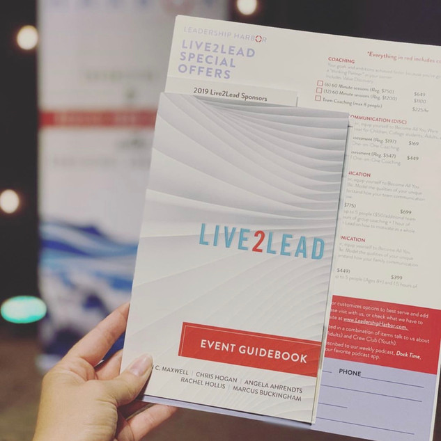L2L conference has documents provided to the leadership companies from the John Mawell Team. The additional pieces we printed were complimentary in their design and color schemes to stay branded to Leadership Harbor but show the connection to a parent company.