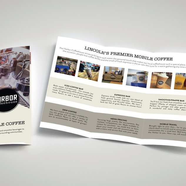 A brochure was designed to explain a new piece of the business, a Mobile Coffee Cart!