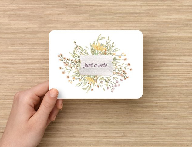 Floral design elements for a sweet note to be sent.