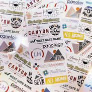 Rack Cards were designed to thank sponsors for an event. One was handed out to each attendee with logos and contact information for each business.