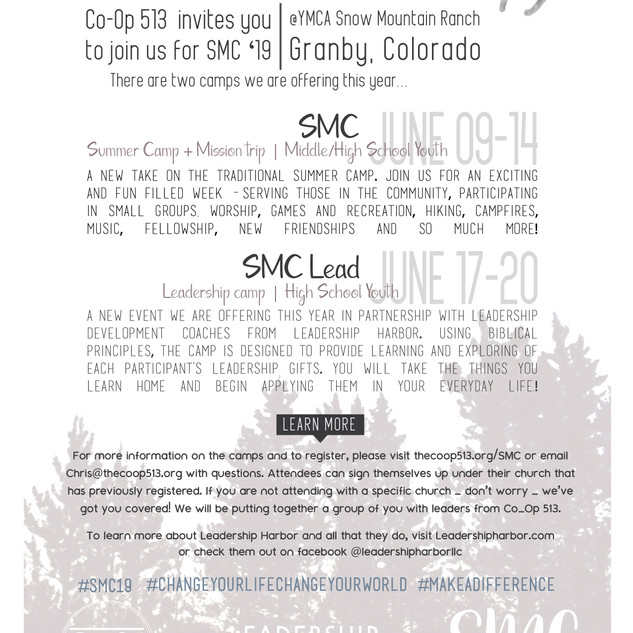 Flyer design to give information about the summer camp to parents, youth leaders, and churches.