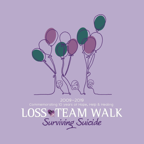 Final T-shirt design for the 2019 LOSS Walk. Representing 10 years of the LOSS Team.
