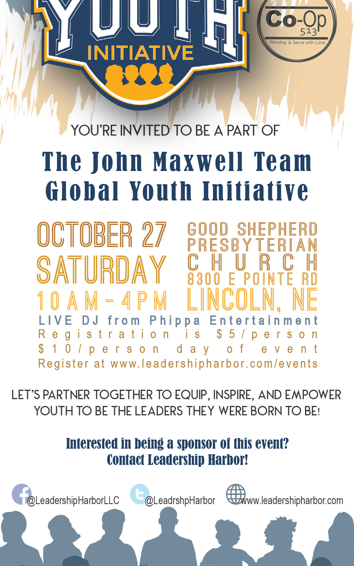 Rack card designed for a youth event leadership harbor sponsored.