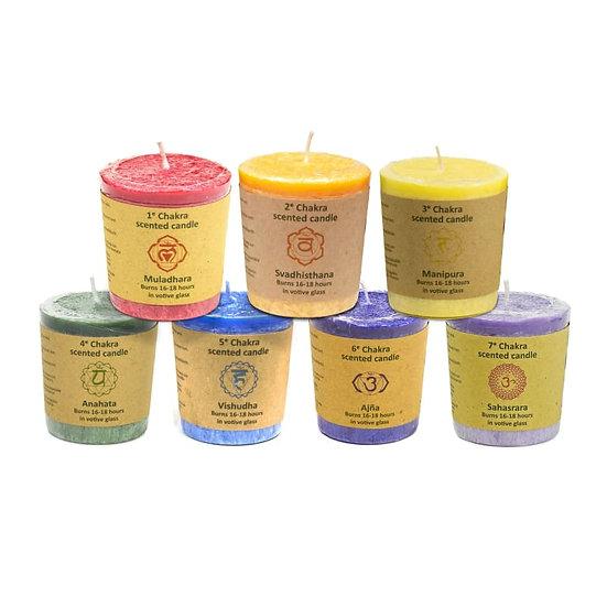 Bougies votives parfumées Chakras x7