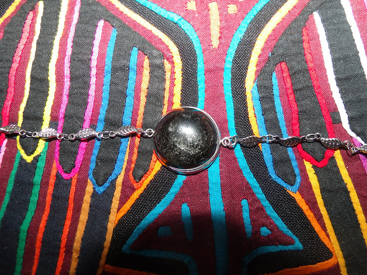 Bracelet obsidienne dorée ou argentée