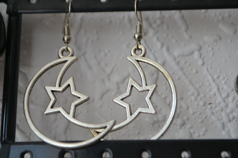 Boucles d'oreilles lune/étoile