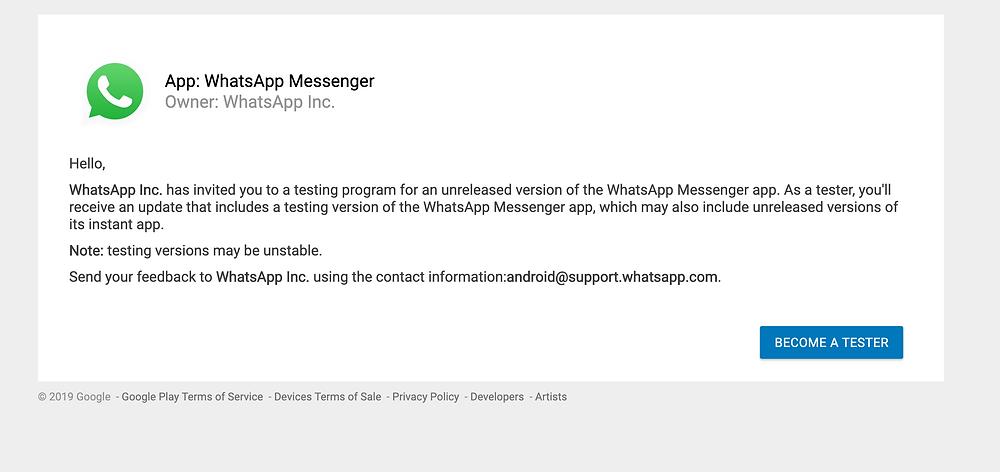 How to join whatsapp beta test program