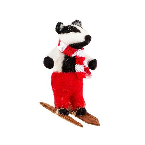 Skiing Badger Felt Decor