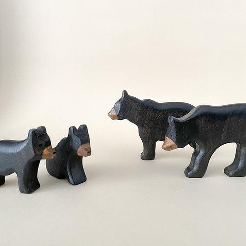 Wooden Black Bear Set