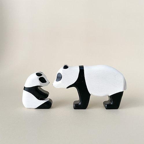 Wooden Panda Mom + Baby