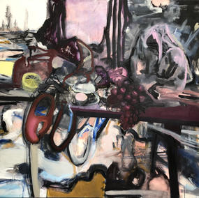 HOLIDAY TABLE 140x160cm, mixed media on canvas, 2021