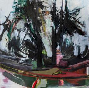 NORWEGIAN LANDSCAPE / MIDNIGHT 120X120cm, oil on canvas, 2020