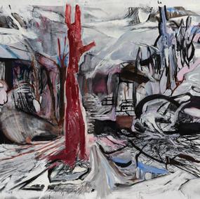 NORWEGIAN LANDSCAPE 210X200cm, mixed media on canvas, 2020