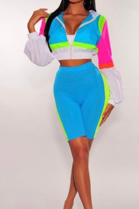 90's Wave Biker Short Set