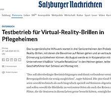 Testbetrieb für Virtual-Reality-Brillen in Pflegeheimen
