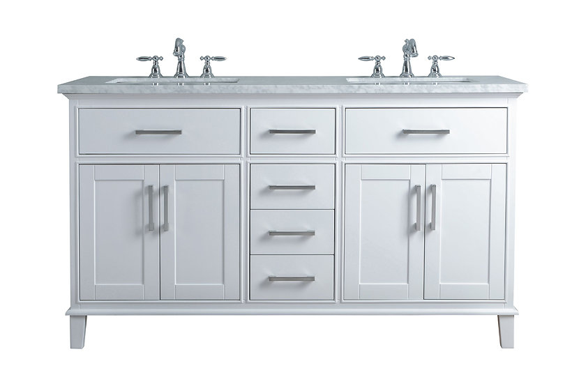 """Leigh 60"""" White Double Sink Vanity"""