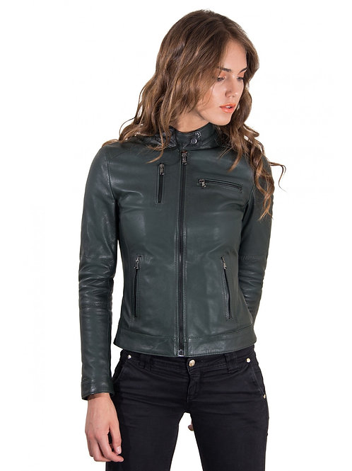 Women's Leather Jacket Genuine Soft Leather Biker Korean Collar Green Color