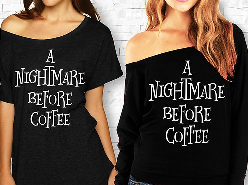 A NIGHTMARE BEFORE COFFEE Halloween Off-Shoulder Shirt - 2 Styles