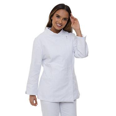Dólmã Feminina em Piquet Branca Botão Pressão Embutido