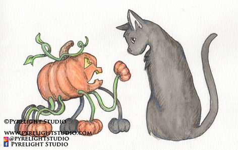 Spider Pumpkin and Black Cat