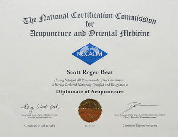 Acupuncture and Oriental Medicine, The National Certification Commission, Scott Roger Beat