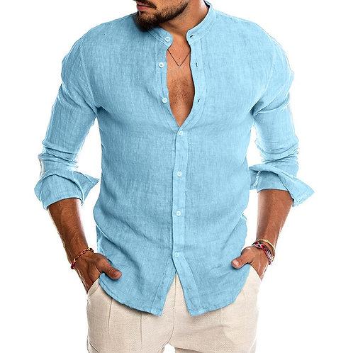 2020 New Men's Casual Blouse Cotton Linen Shirt Loose