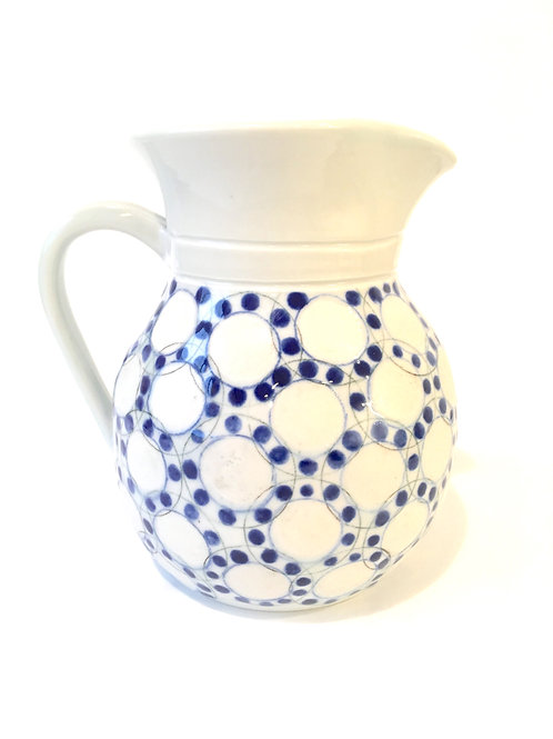 Porcelain Pitcher with Dotted Circle Design