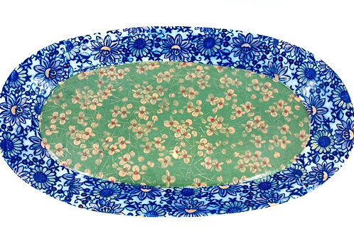 Porcelain Blue/Green Floral Patterned Large Tray