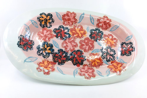 Porcelain Serving Tray with Multi-Layered Patterns