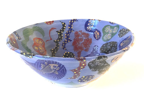 Blue Bowl with Chinese Decal Floral Patterns