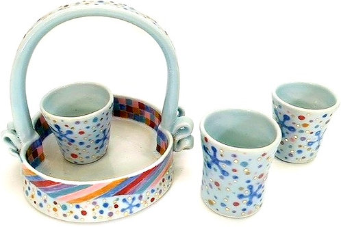 Porcelain Cup Basket with Three Cups