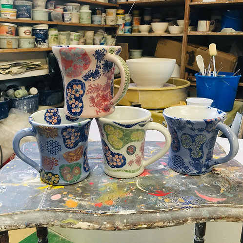 Porcelain Mugs --- each one-of-a-kind