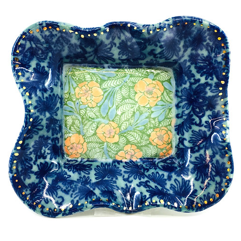 Scalloped Porcelain Serving Tray with Hand Painted Decal Patterns