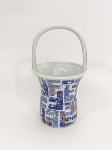 Porcelain Flower Basket with Blue Decal Floral Pattern