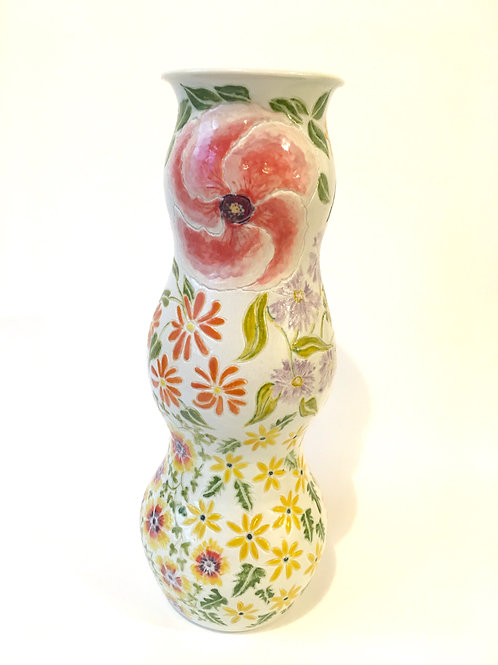 An Exceptional Hand Painted Floral Vase