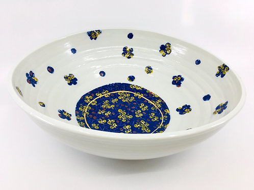 Altered Porcelain Bowl with Blue Chinese Floral Decal Pattern