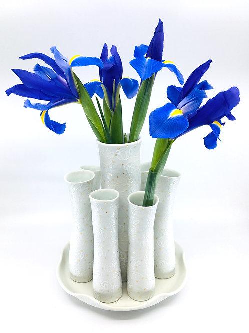 Eight Piece Porcelain Floral Centerpiece