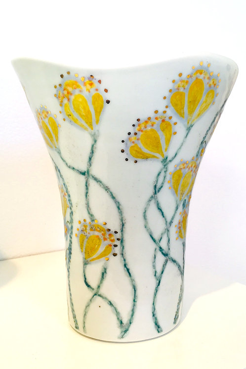 Hand Painted Porcelain Vase with Gold Luster