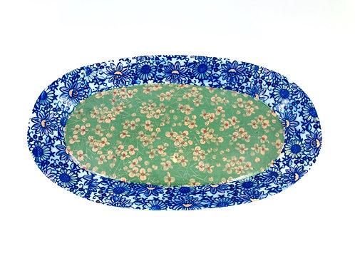 Porcelain Blue/Green Floral Patterned Medium SizeTray