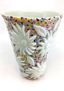 S.Rosenstein-- Applique Vase with leaves