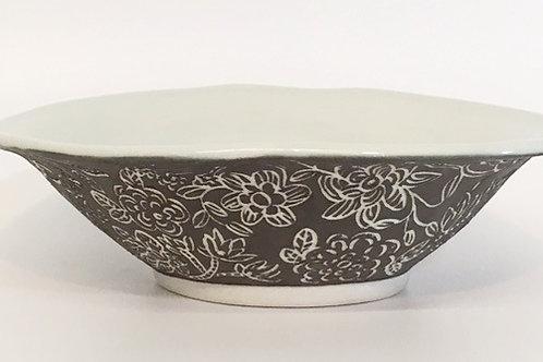 Porcelain Bowl with Black Slip and Sgraffito