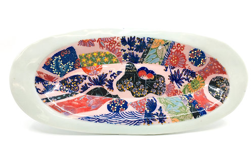 Porcelain Oval Crazy Quiltlike Collage Patterned Tray