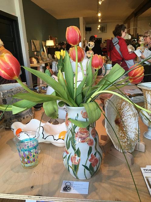 Parrot Tulip Relief Vase
