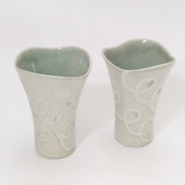 Petite Porcelain Vases with Unglazed Loop Pattern