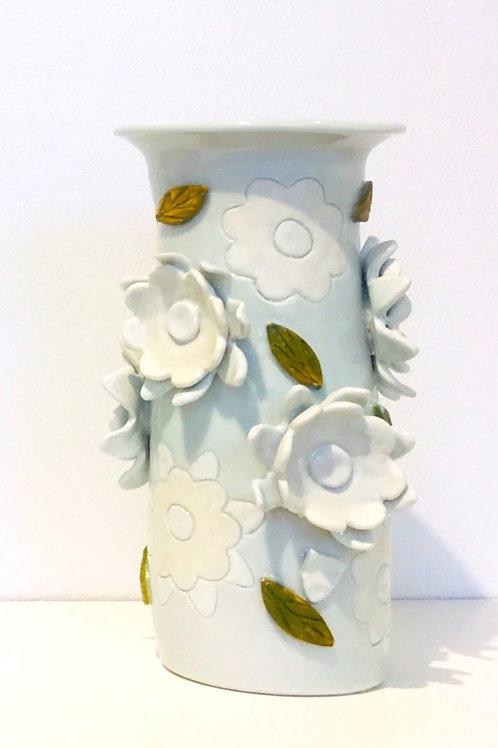 Porcelain Vase with Appliqué Floral Motif