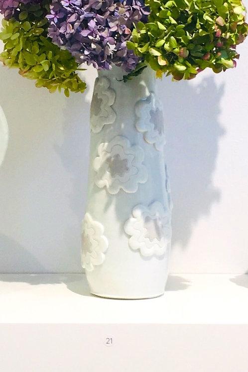 Porcelain Appliqué Vase with Lavender Glazed Floral Motif